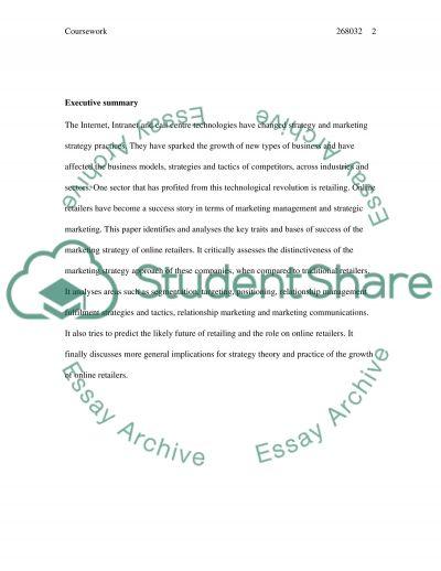 Online Marketing essay example