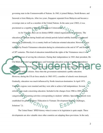 Vietnam and Singapores Special Education Compared with that of the US essay example
