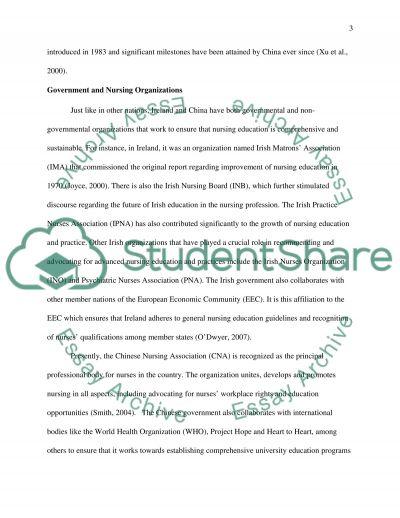 Nursing Education Systems of Ireland and China essay example
