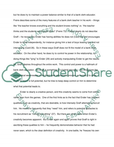 enders game essay Ender's game thesis statement our essay editing experts are available any time of the day or night to help you get better grades on your essays and become a better.