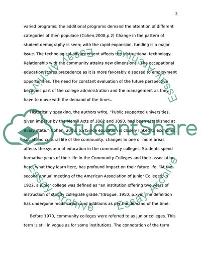 History of Community Junior College Movement in American Education
