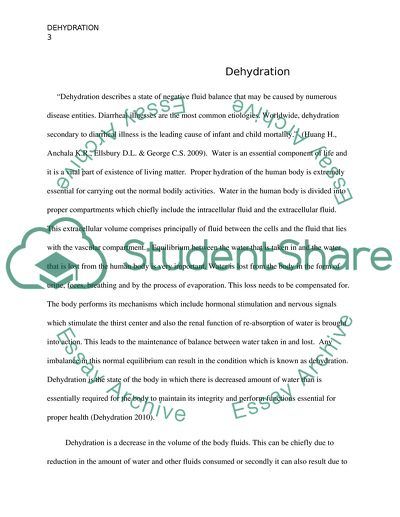 Dehydration - Research paper and PowerPoint