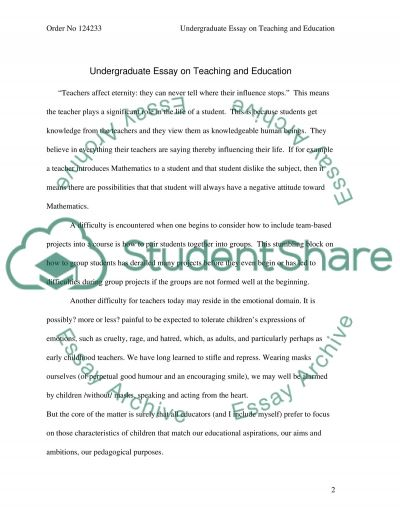 Teaching and Education essay example