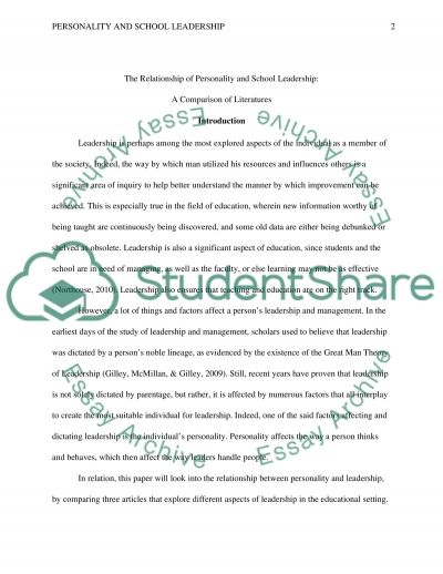 The Relationship of Personality and School Leadership: A Comparison of Literatures essay example