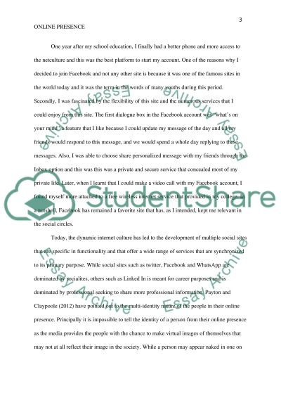 Analyse your online presence Essay example