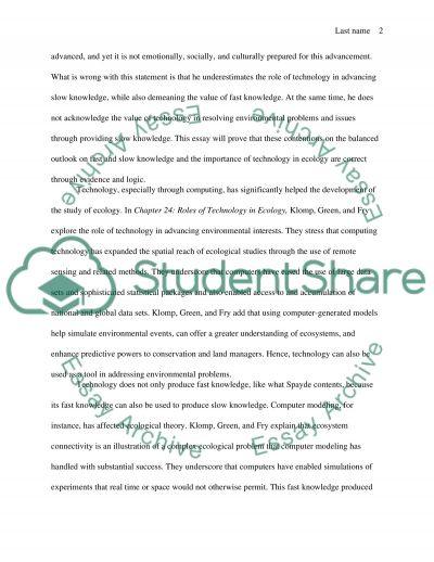 Technology as Fast and Slow Knowledge essay example