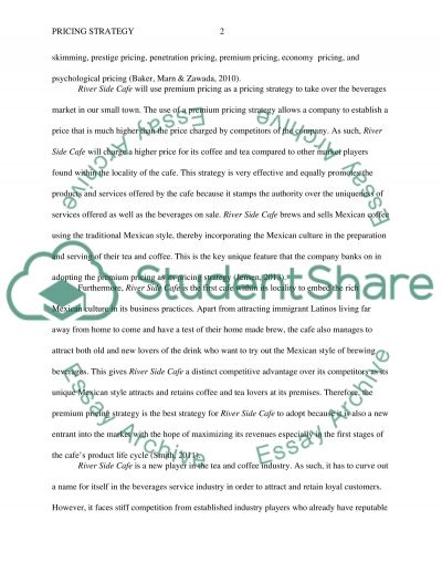 Pricing Strategy River Side Cafe essay example
