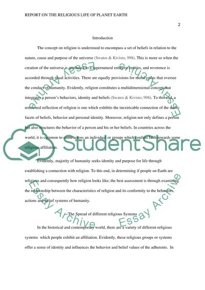 Report On The Religious Life Of Planet Earth Essay   Report On The Religious Life Of Planet Earth  Essay Example