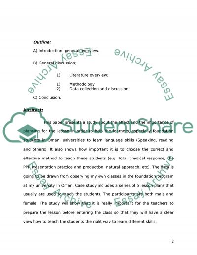 The importance of lesson plan and methods used in the Foundation Program in Omani Universities for the study of language skills Essay example