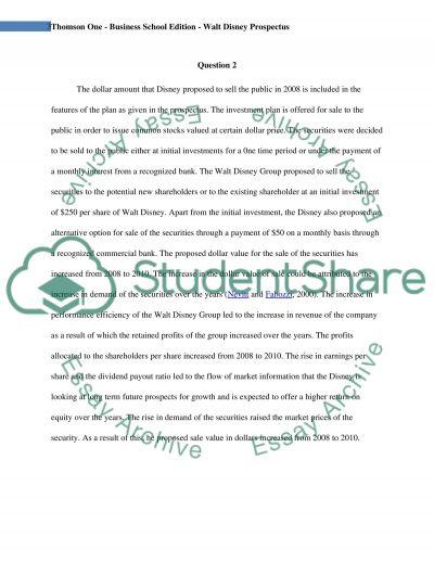 Thomson One - Business School Edition - Walt Disney Prospectus essay example