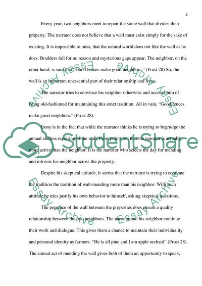 About English Language Essay Mending Wall By Robert Frost What Is A Thesis Statement For An Essay also Essay Samples For High School Mending Wall By Robert Frost Essay Example  Topics And Well Written  How Do I Write A Thesis Statement For An Essay
