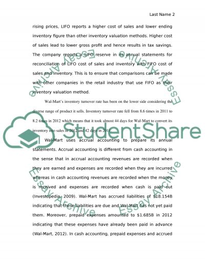 ANNUAL FINANCIAL REPORT PROJECT ON WALMART essay example