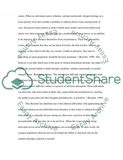Behavior Disorders Related to Cultural Diversity essay example