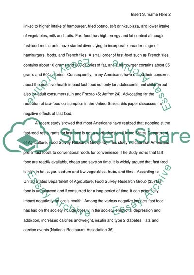 Negative side on fast food Essay Example   Topics and Well