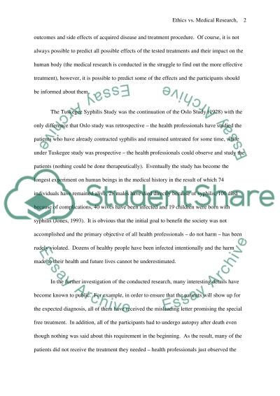 Conflict Between Research and Ethics Paper essay example