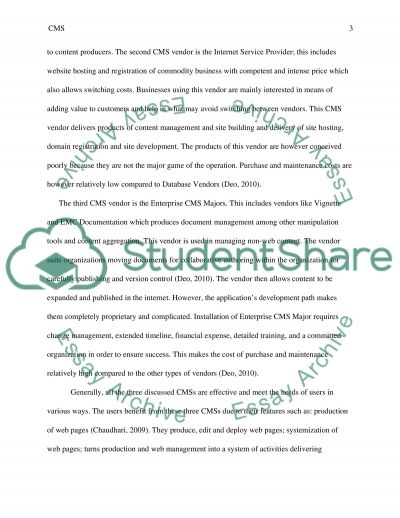 Evaluating Course Management Systems (CMS) Vendors essay example