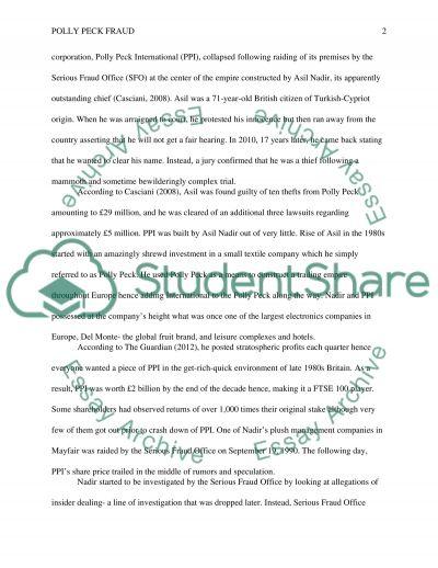 Polly peck fraud essay example