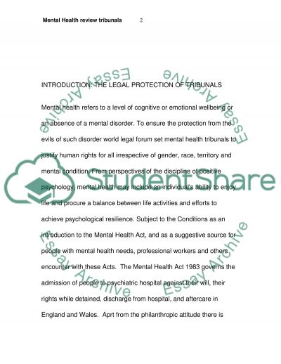 Mental Health review tribunals essay example