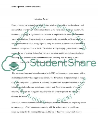 Literature Review on Engineering essay example