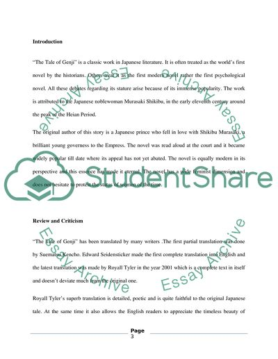 4 page literary criticism-book review on the The Tale of Genji by Royall Tyler (2001),