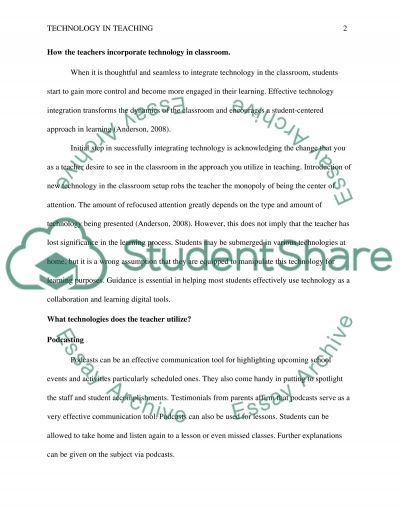 Incorporating technology into the classroom essay example