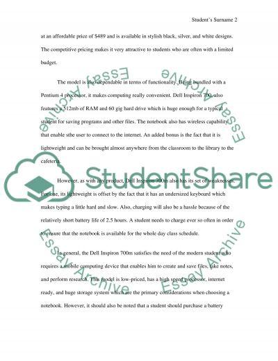Dell Inspiron 700m essay example