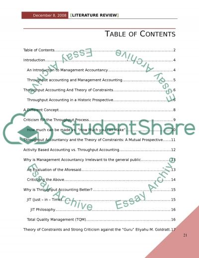 Literature Review: Throughput Accounting and Theory of Constraints essay example