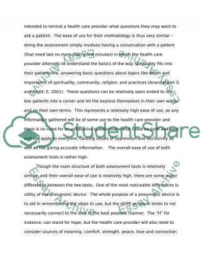 Spiritual Assessment Tool essay example