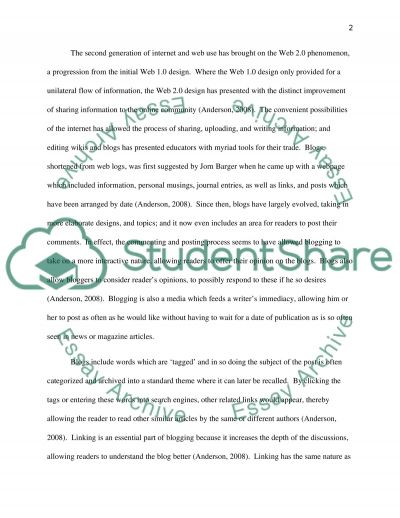 Blogger (or the general idea of blogs).Learning with technology ( look at attachment) essay example