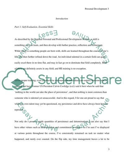 Personal development self management and reflection essay
