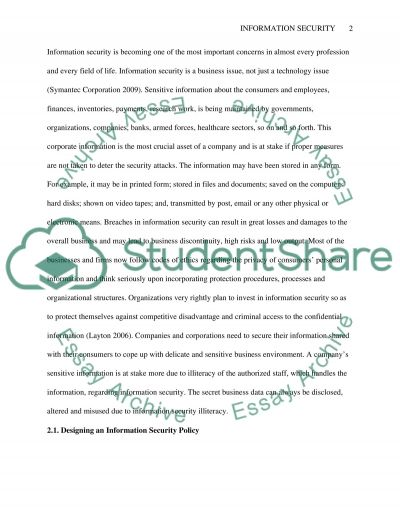 Information securtiy essay example