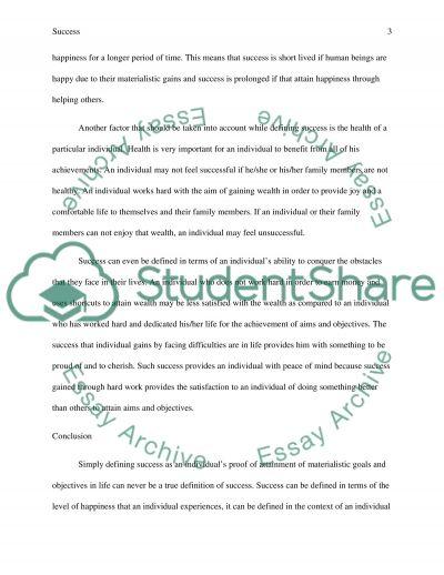 Success essay example