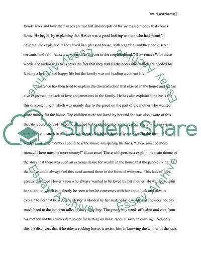 The Rocking Horse Winner Essay Example  Topics And Well Written  The Rocking Horse Winner