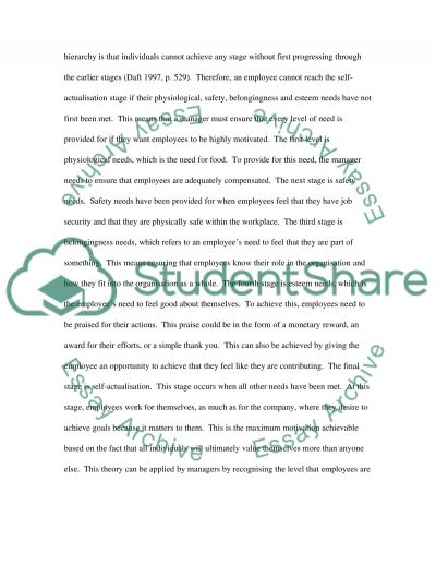 Motivation at Work essay example
