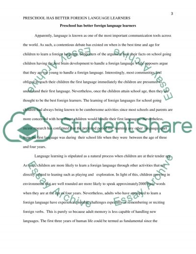 Preschool Has Vetter Foreign Language Learners essay example