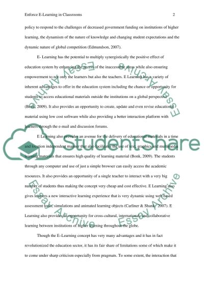 Enforce E-learning in Classrooms essay example