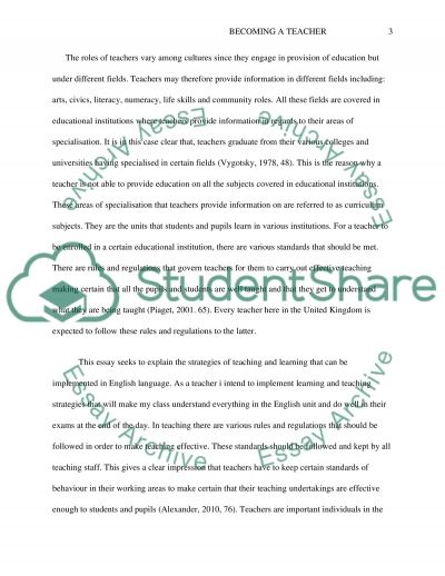 Becoming a teacher essay example