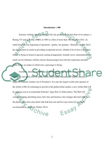 Sustainable marketing plan for Emirates Airline Essay example