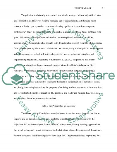 The Principalship: The Role in Context essay example