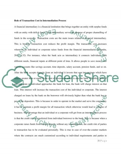 Role of Transaction Cost in Intermediation Process essay example