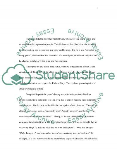 Poetry Richard Cory essay example