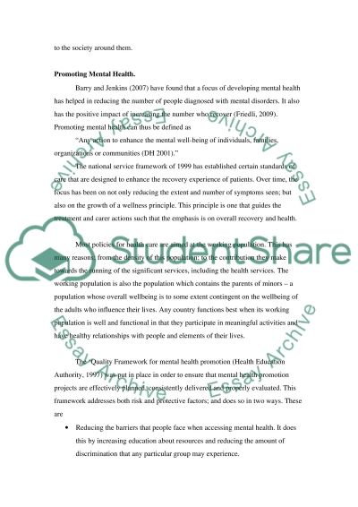 Mental Health Promotion Project  Essay example