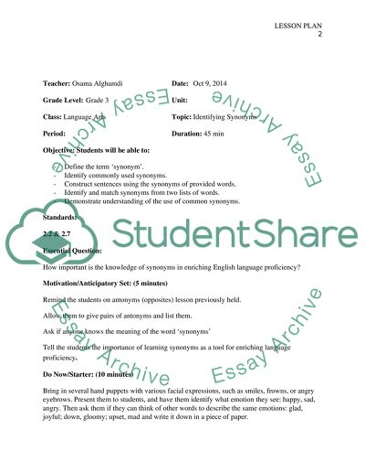 Lesson plan on Identifying Synonyms