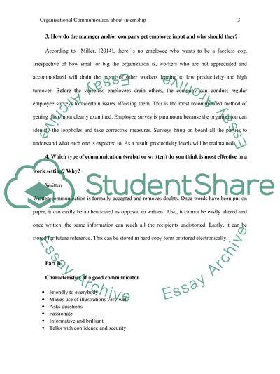 Organizational Communication about internship
