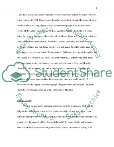 A Look at the Country of Rwanda essay example