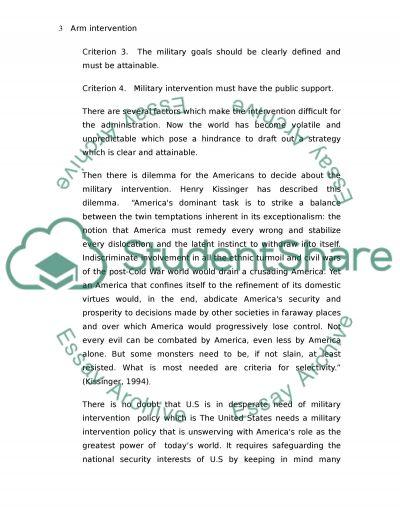 Arm Intervention essay example