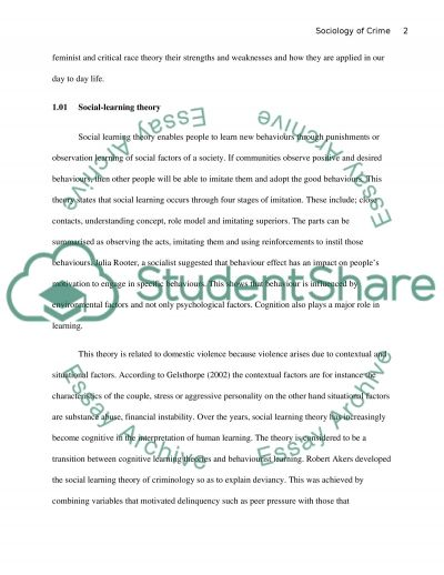 SOCIOLOGY OF CRIME essay example
