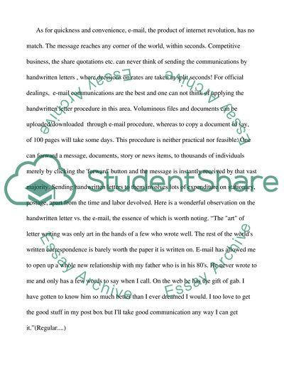 Handwriting a letter versus sending an e-mail message essay example
