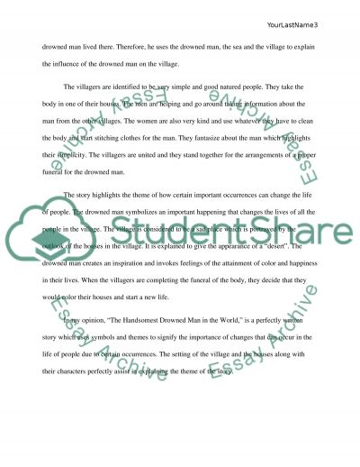 the handsomest drowned man in the world essay example topics and text