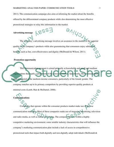 Marketing Analysis Paper: Communication Tools